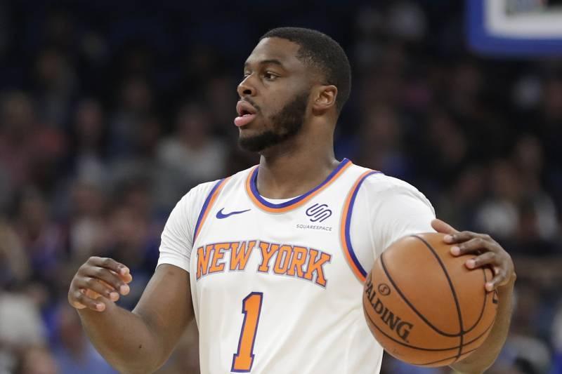 75a2ba2aef1 New York Knicks  Emmanuel Mudiay (1) moves the ball against the Orlando  Magic