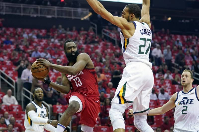 592a215f1b3 Houston Rockets guard James Harden (13) drives to the basket against Utah  Jazz center