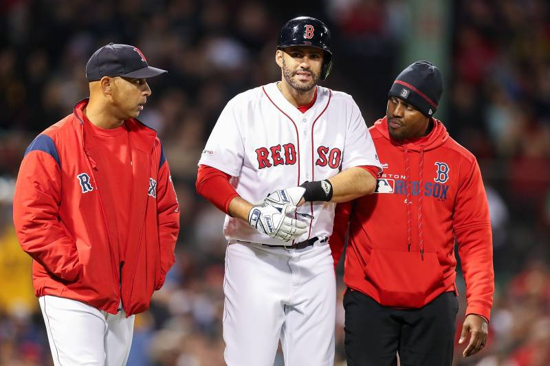 sports shoes 9bfb2 c33b1 Red Sox News: JD Martinez Exits vs. Royals After Back Injury ...