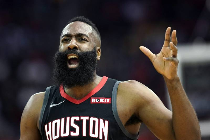 95c32c86d6cd Houston Rockets  James Harden reacts after being called for a foul during  the first half
