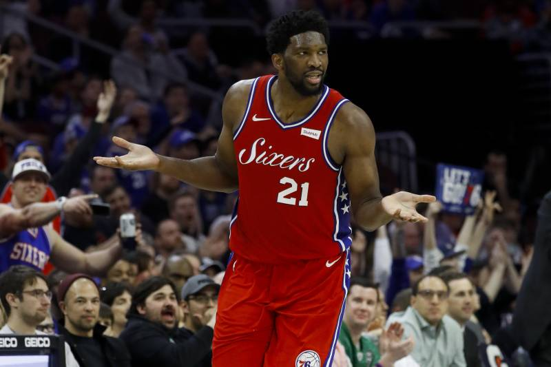 d5c729305313 Philadelphia 76ers  Joel Embiid celebrates after a basket during the second  half of an NBA