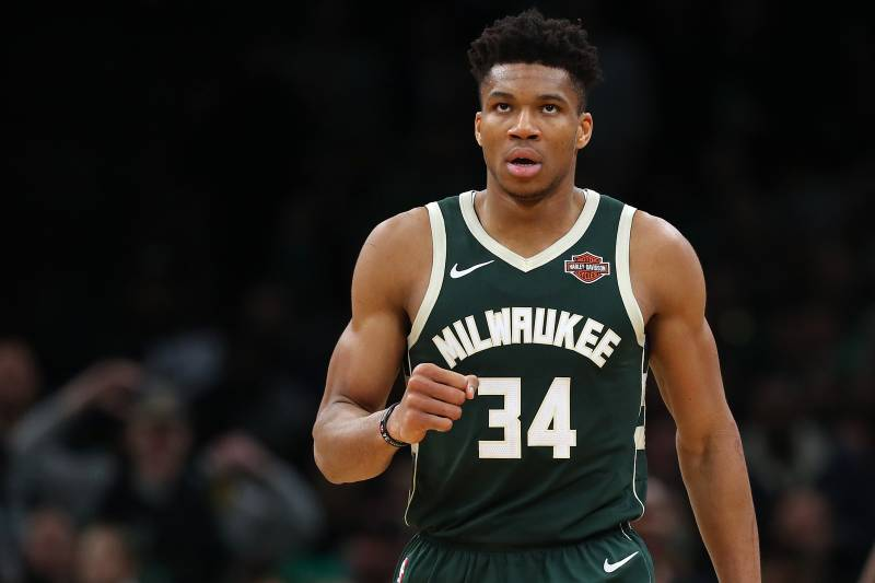 BOSTON, MASSACHUSETTS - MAY 03: Giannis Antetokounmpo #34 of the Milwaukee Bucks celebrates during the second half of Game 3 against the Boston Celtics during the Eastern Conference Semifinals of the 2019 NBA Playoffs at TD Garden on May 03, 2019 in Boston, Massachusetts. The Bucks defeat the Celtics 123 - 116.