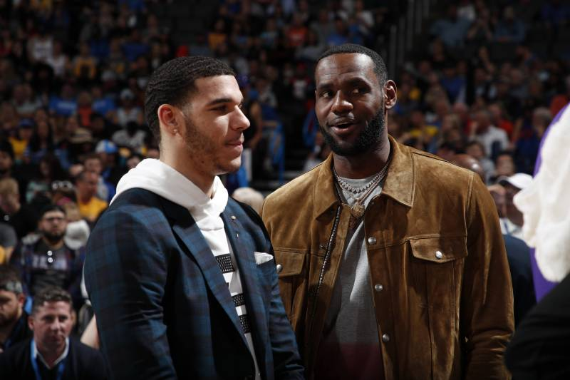 OKLAHOMA CITY, OK- APRIL 2: LeBron James #23 and Lonzo Ball #2 of the Los Angeles Lakers talk during a game against the Oklahoma City Thunder on April 2, 2019 at Chesapeake Energy Arena in Oklahoma City, Oklahoma. NOTE TO USER: User expressly acknowledges and agrees that, by downloading and or using this photograph, User is consenting to the terms and conditions of the Getty Images License Agreement.