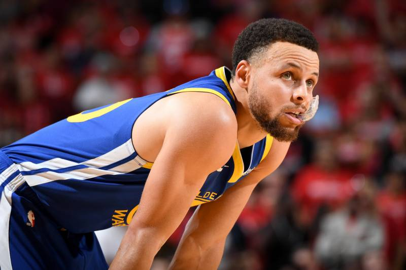 HOUSTON, TX - MAY 4: Stephen Curry #30 of the Golden State Warriors looks on against the Houston Rockets during Game Three of the Western Conference Semifinals of the 2019 NBA Playoffs on May 4, 2019 at the Toyota Center in Houston, Texas. NOTE TO USER: User expressly acknowledges and agrees that, by downloading and/or using this photograph, user is consenting to the terms and conditions of the Getty Images License Agreement.