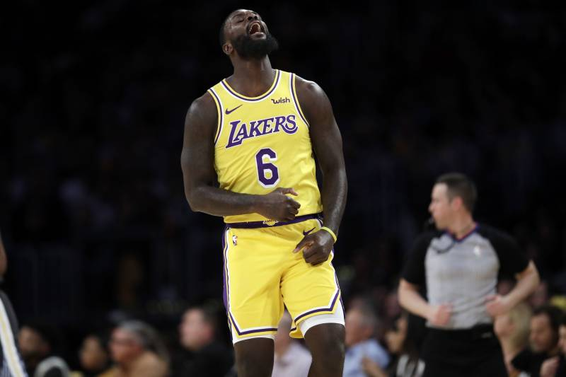 Los Angeles Lakers' Lance Stephenson (6) reacts to a missed 3-point shot during the second half of an NBA basketball game against the Golden State Warriors Thursday, April 4, 2019, in Los Angeles. (AP Photo/Marcio Jose Sanchez)