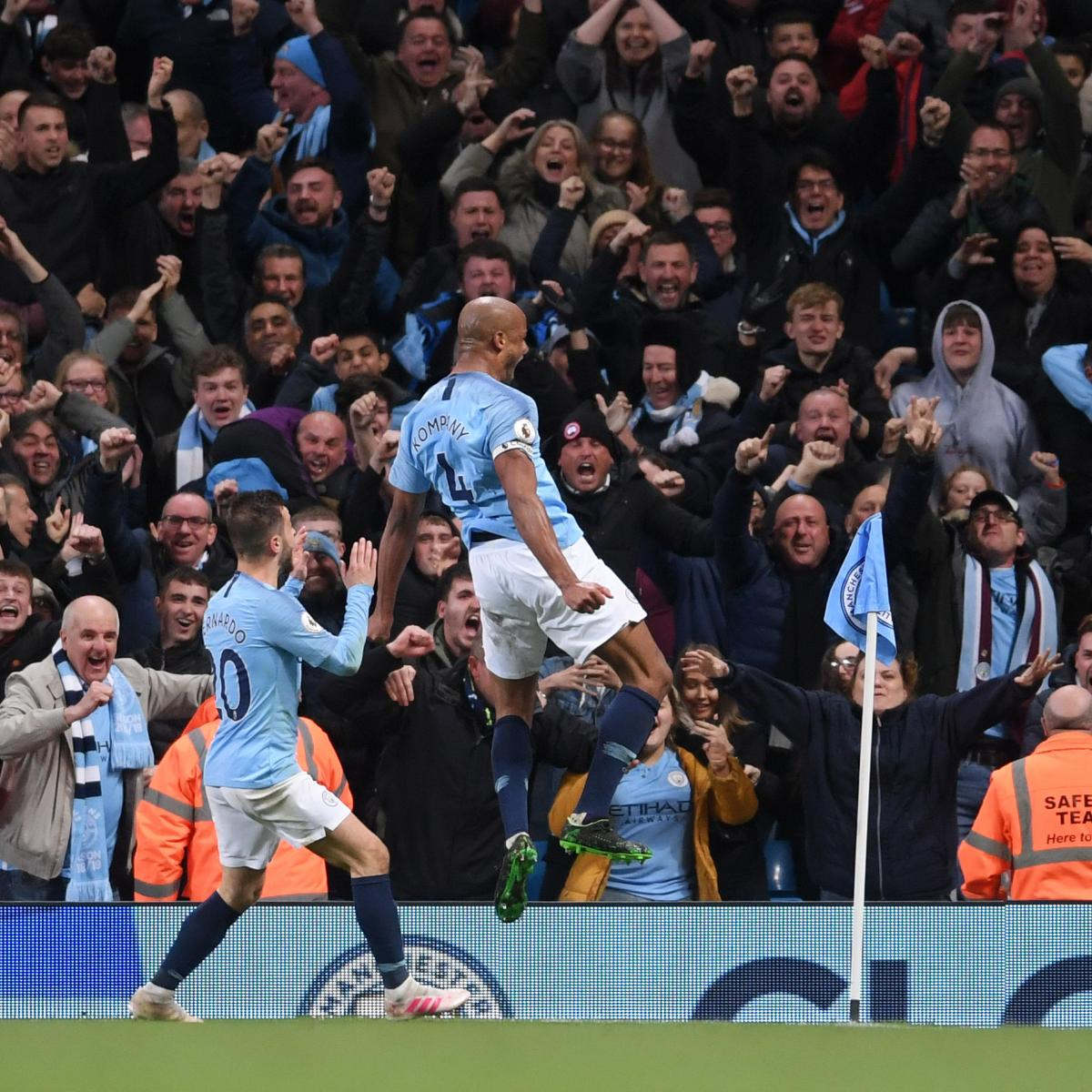 Manchester City are one step away from repeating as Premier League champions after beating Leicester City 1-0 on Monday. Vincent Kompany scored the only goal of the match, a fantastic long-range strike in the second half...