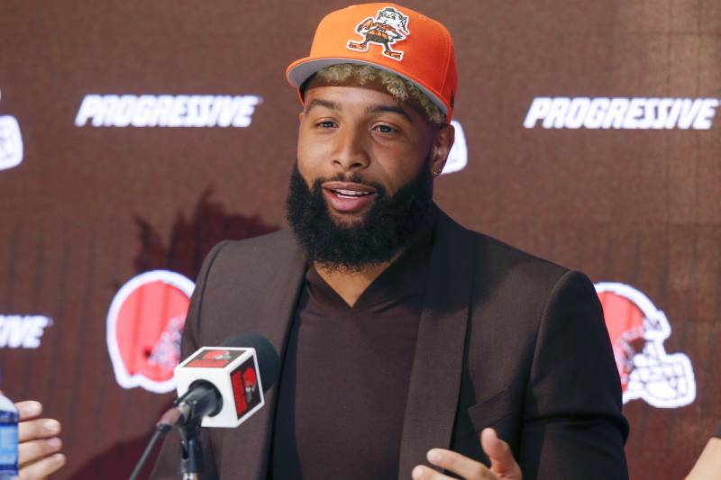 7bc47f3c9f9 In this April 1, 2019 photo Cleveland Browns' Odell Beckham answers  questions during a