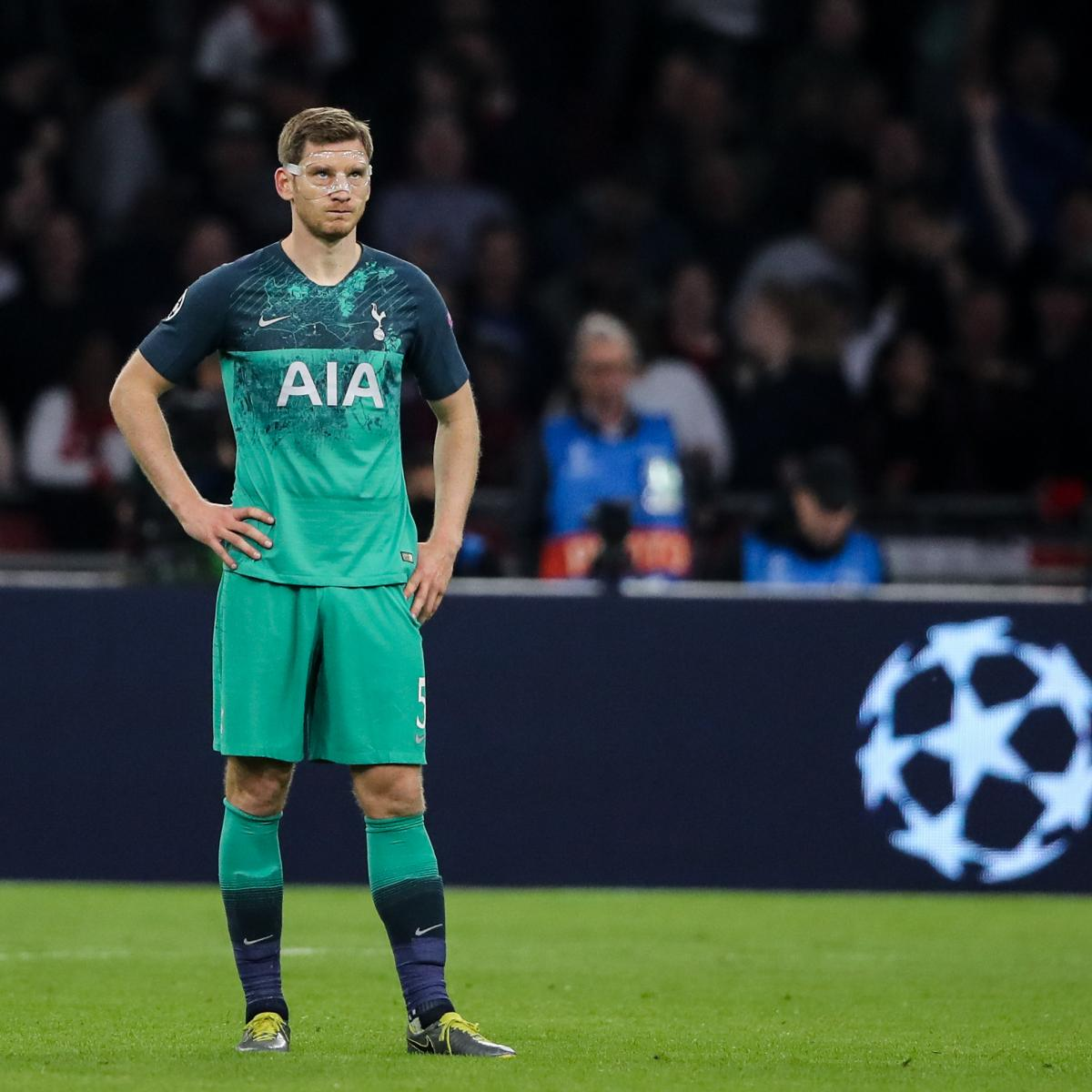 Tottenham's Jan Vertonghen Pictured On Crutches After Ajax