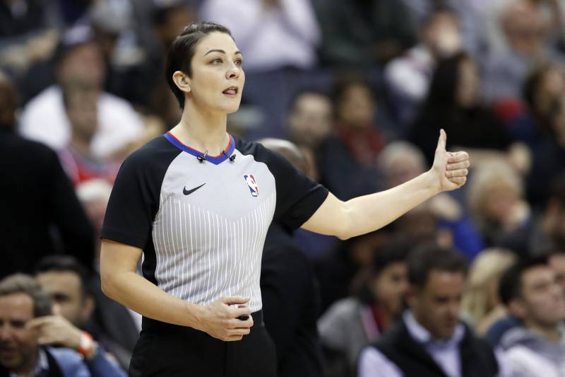 324eee669 Referee Lauren Holtkamp gives a thumbs up during the first half of an NBA  basketball game