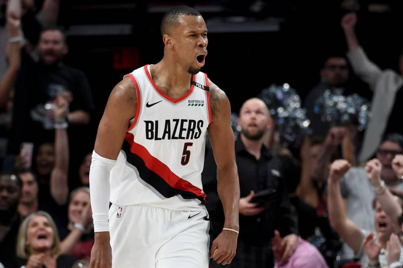 PORTLAND, OREGON - MAY 09: Rodney Hood #5 of the Portland Trail Blazers reacts after hitting a shot in the second half of Game Six of the Western Conference Semifinals against the Denver Nuggets at Moda Center on May 09, 2019 in Portland, Oregon. The Blazers won 119-108.