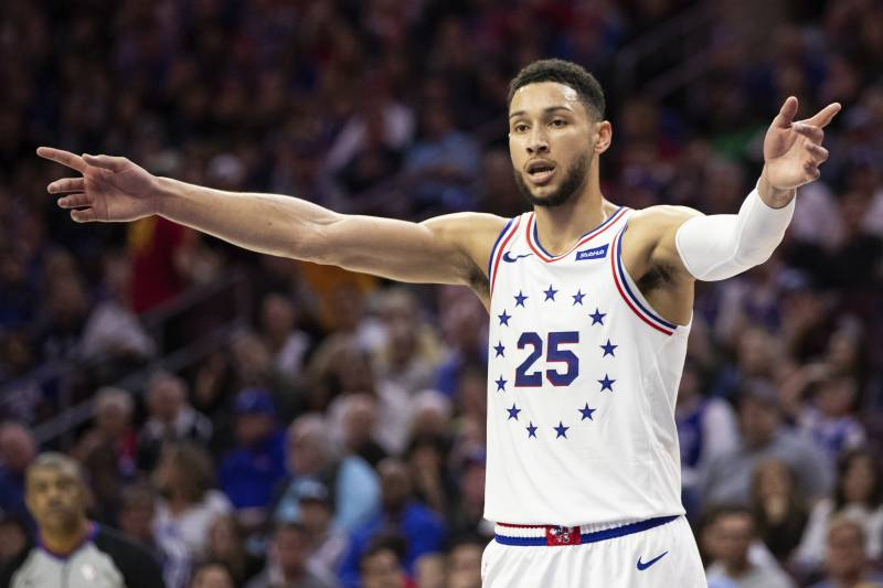 22780f04316d Philadelphia 76ers  Ben Simmons reacts during the second half of Game 4 of  a second