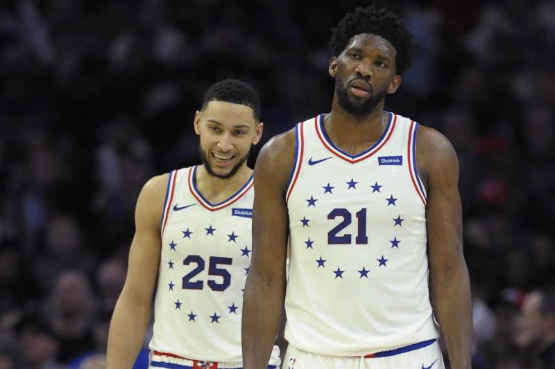 f1779a509 Philadelphia 76ers  Joel Embiid (21) and Ben Simmons are seen during an NBA