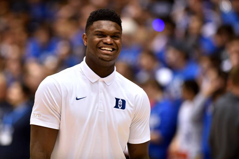 DURHAM, NC - MARCH 05: Zion Williamson of the Duke Blue Devils smiles prior to their game against the Wake Forest Demon Deacons at Cameron Indoor Stadium on March 5, 2019 in Durham, North Carolina. (Photo by Lance King/Getty Images)