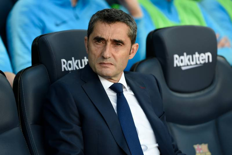 Barcelona's coach Ernesto Valverde attends the Spanish League football match between Barcelona and Getafe at the Camp Nou Stadium in Barcelona on May 12, 2019. (Photo by Josep LAGO / AFP)        (Photo credit should read JOSEP LAGO/AFP/Getty Images)