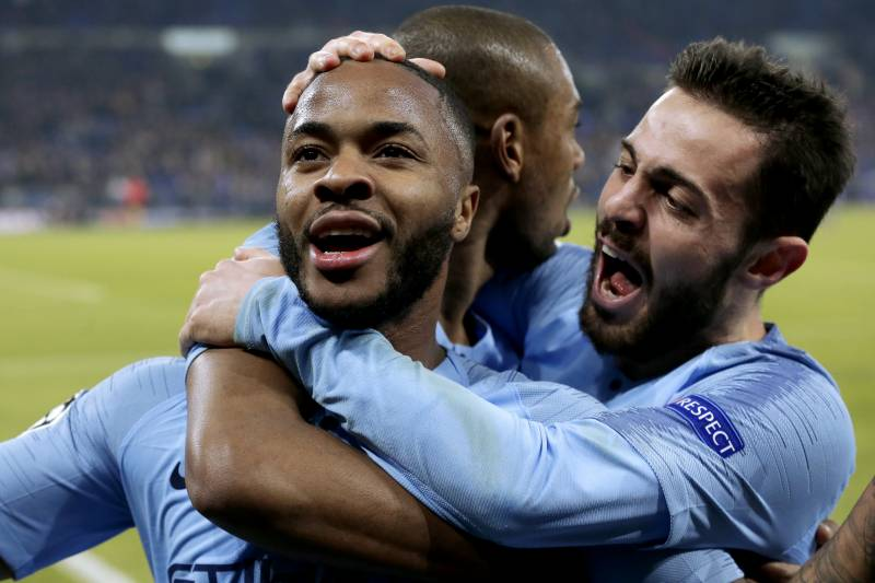 6071dc637 GELSENKIRCHEN, GERMANY - FEBRUARY 20: Raheem Sterling of Manchester City  celebrates 2-3