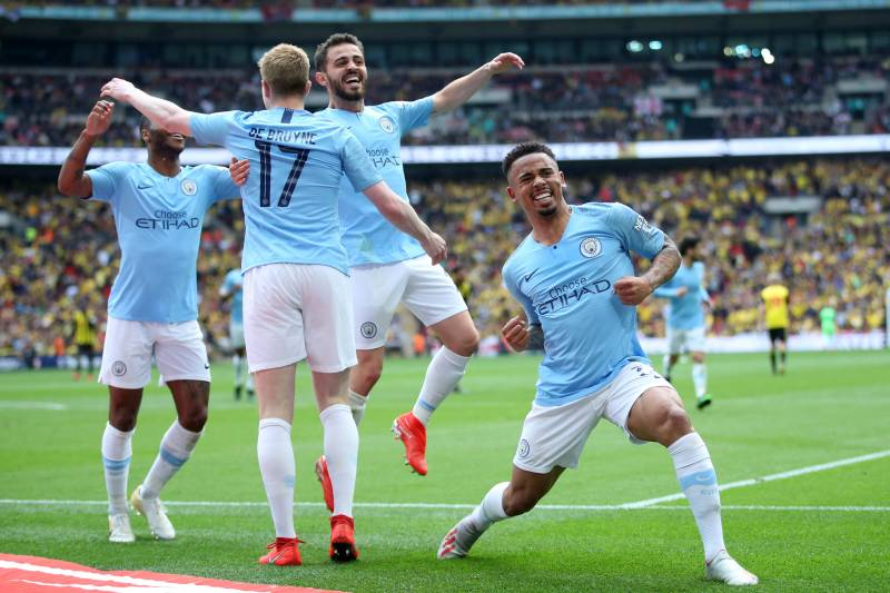 LONDON, ENGLAND - MAY 18: Kevin De Bruyne of Manchester City celebrates after scoring his team's third goal with teammate Gabriel Jesus during the FA Cup Final match between Manchester City and Watford at Wembley Stadium on May 18, 2019 in London, England. (Photo by Alex Morton/Getty Images)