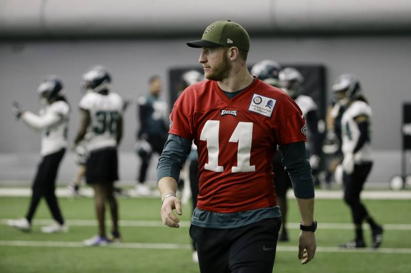 034787755f2 Philadelphia Eagles quarterback Carson Wentz walks onto the field during  practice at the team's NFL football. ›
