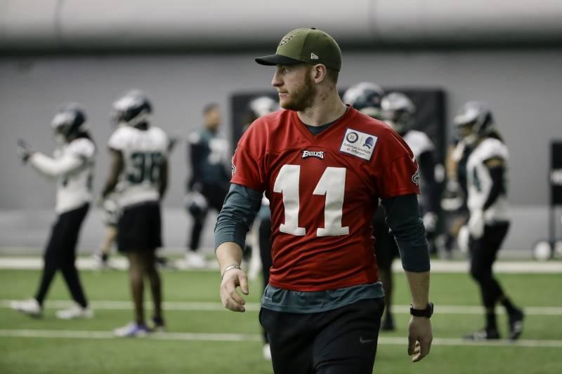 671194f90bb Philadelphia Eagles quarterback Carson Wentz walks onto the field during  practice at the team's NFL football