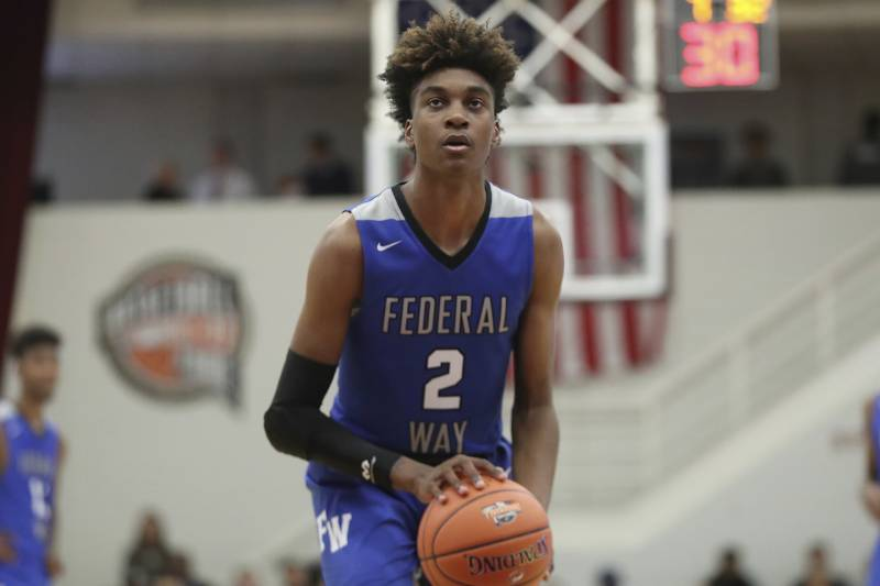 Federal Way's Jaden McDaniels #2 in action against the Ranney School during a high school basketball game at the Hoophall Classic, Monday, January 21, 2019, in Springfield, MA. (AP Photo/Gregory Payan)