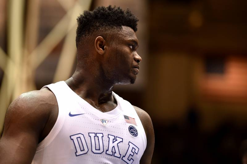 DURHAM, NC - JANUARY 26: Zion Williamson #1 of the Duke Blue Devils looks on against the Georgia Tech Yellow Jackets in the second half at Cameron Indoor Stadium on January 26, 2019 in Durham, North Carolina. (Photo by Lance King/Getty Images)