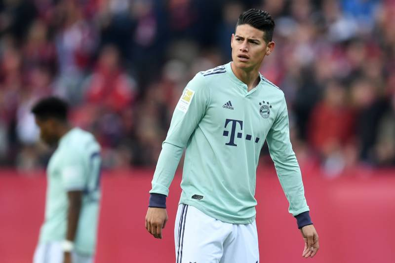 d9d02a6732a Bayern Munich's Colombian midfielder James Rodriguez reacts during the  German first division Bundesliga football match Nuremberg