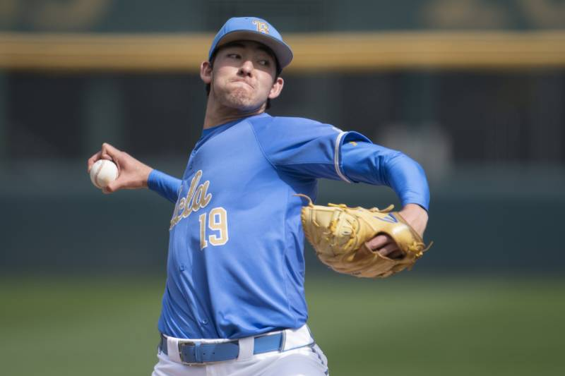 quality design 519bd 2c898 UCLA pitcher Jack Ralston delivers a pitch during an NCAA college baseball  game against Sacramento State