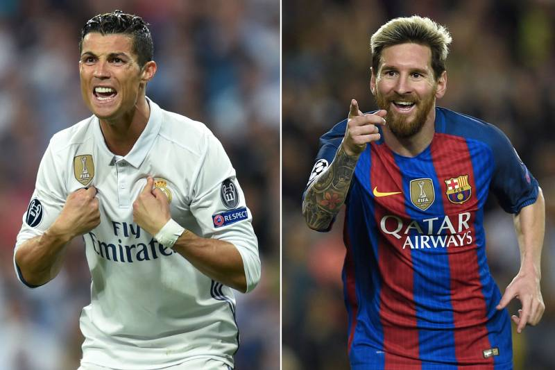 e1c4f8d26 A combination of images shows (L-R) Real Madrid's Portuguese forward Cristiano  Ronaldo and Barcelona's