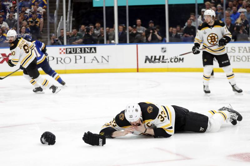 Boston Bruins defenseman Zdeno Chara (33), of Slovakia, lies on the ice after getting hit in the face with the puck during the second period of Game 4 of the NHL hockey Stanley Cup Final against the St. Louis Blues Monday, June 3, 2019, in St. Louis. (AP Photo/Jeff Roberson)