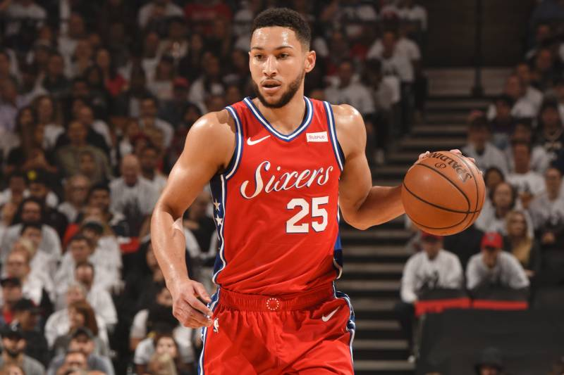 TORONTO, CANADA - MAY 12:  Ben Simmons #25 of the Philadelphia 76ers handles the ball against the Toronto Raptors during Game Seven of the Eastern Conference Semi-Finals of the 2019 NBA Playoffs on May 12, 2019 at the Scotiabank Arena in Toronto, Ontario, Canada. NOTE TO USER: User expressly acknowledges and agrees that, by downloading and or using this Photograph, user is consenting to the terms and conditions of the Getty Images License Agreement.