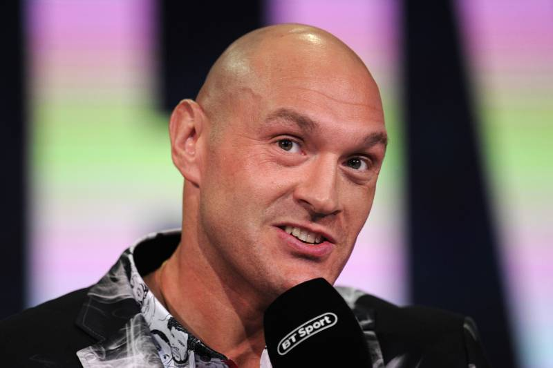 LONDON, ENGLAND - MAY 13: Tyson Fury of England speaks during a press conference ahead of his heavyweight match against Tom Schwarz at BT Sport Studios on May 13, 2019 in London, England. (Photo by Alex Burstow/Getty Images)