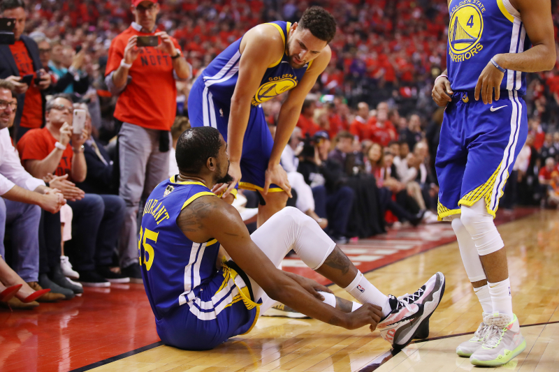 Video: Kevin Durant Suffers Achilles Injury in Game 5; Exits Arena on Crutches