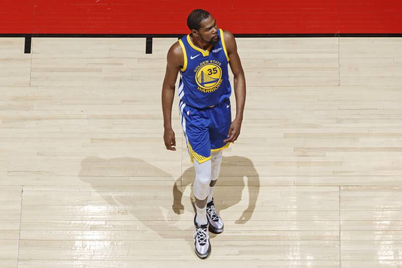 TORONTO, CANADA - JUNE 10: Kevin Durant #35 of the Golden State Warriors walks on the court against the Toronto Raptors during Game Five of the NBA Finals on June 10, 2019 at Scotiabank Arena in Toronto, Ontario, Canada. NOTE TO USER: User expressly acknowledges and agrees that, by downloading and/or using this photograph, user is consenting to the terms and conditions of the Getty Images License Agreement.