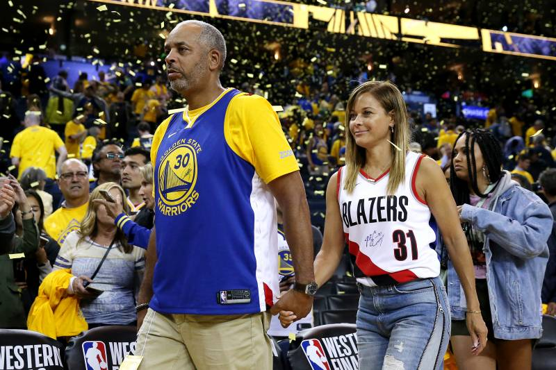 OAKLAND, CALIFORNIA - MAY 14: Dell Curry and Sonya Curry, parents of Stephen Curry #30 of the Golden State Warriors (not pictured) and Seth Curry #31 of the Portland Trail Blazers (not pictured) attend game one of the NBA Western Conference Finals at ORACLE Arena on May 14, 2019 in Oakland, California. NOTE TO USER: User expressly acknowledges and agrees that, by downloading and or using this photograph, User is consenting to the terms and conditions of the Getty Images License Agreement.
