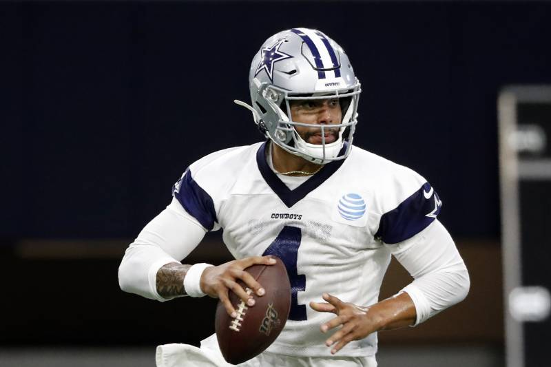 b7335d942a6141 Dallas Cowboys quarterback Dak Prescott (4) prepares to pass during drills  at the team's