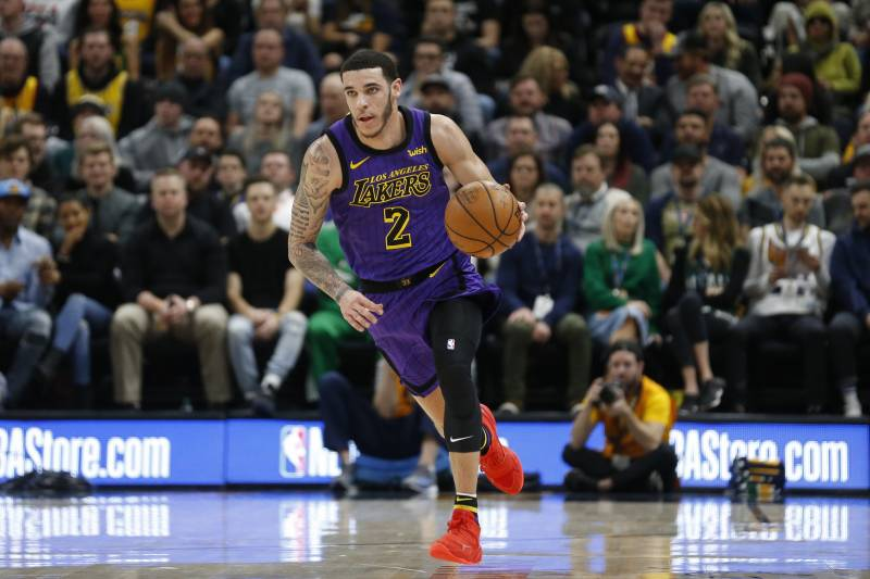 ef15c24b Los Angeles Lakers guard Lonzo Ball (2) brings the ball up court during the