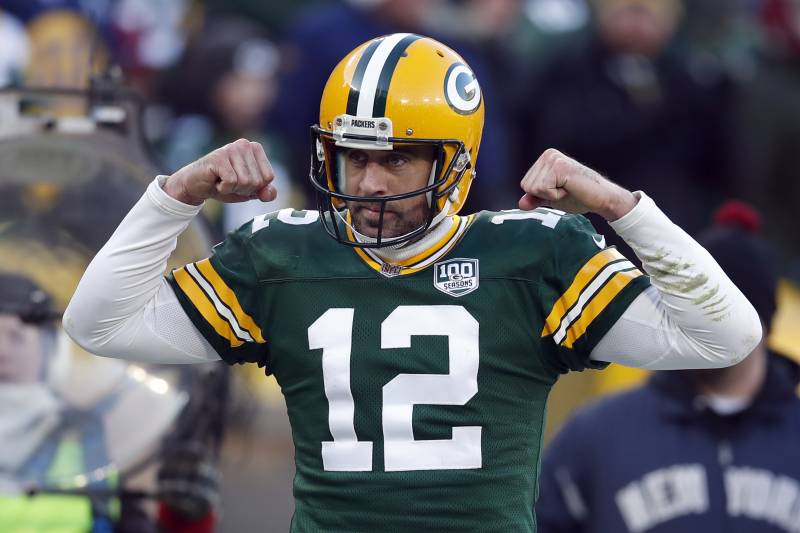 3071e28cd Green Bay Packers quarterback Aaron Rodgers (12) reacts after a touchdown  against the Atlanta