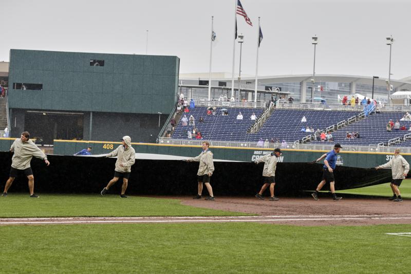 College World Series Postponed Due to Rain; Tripleheader Set for Wednesday