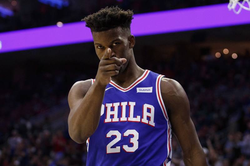 5f554d09e35 Philadelphia 76ers' Jimmy Butler reacts during the first half in Game 5 of  a first