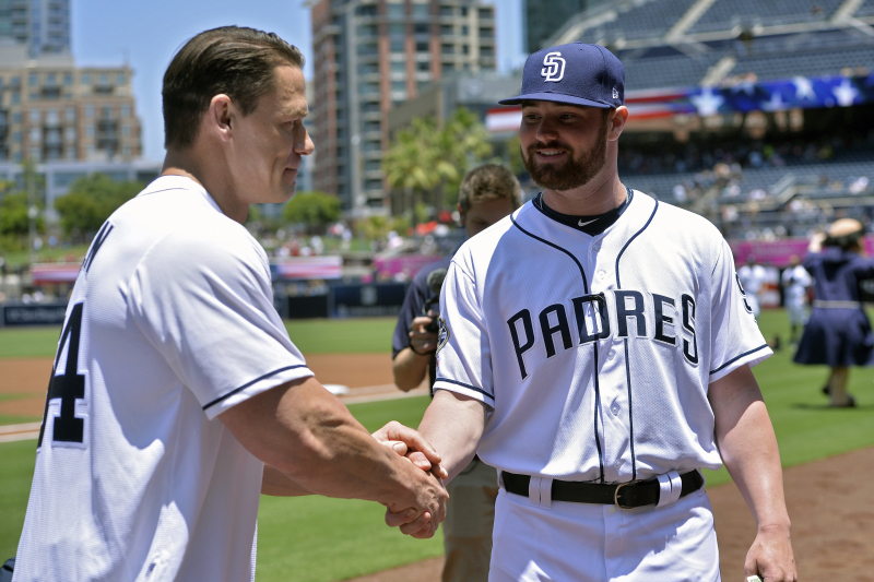 Video: John Cena Pays Up on Bet Made with Logan Allen After Making Padres Debut