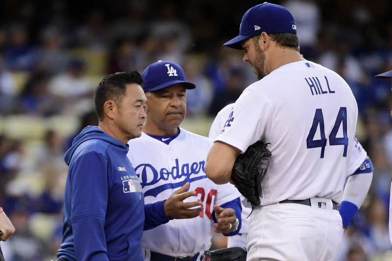 Dodgers' Rich Hill Exits vs. Giants After Suffering Forearm Injury