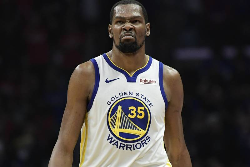 Golden State Warriors forward Kevin Durant scowls after scoring during the second half in Game 6 of a first-round NBA basketball playoff series against the Los Angeles Clippers Friday, April 26, 2019, in Los Angeles. The Warriors won 129-110. (AP Photo/Mark J. Terrill)
