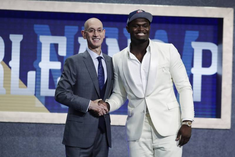 Zion Williamson joins commissioner on the stage after he was the No. 1 pick in the NBA Draft.