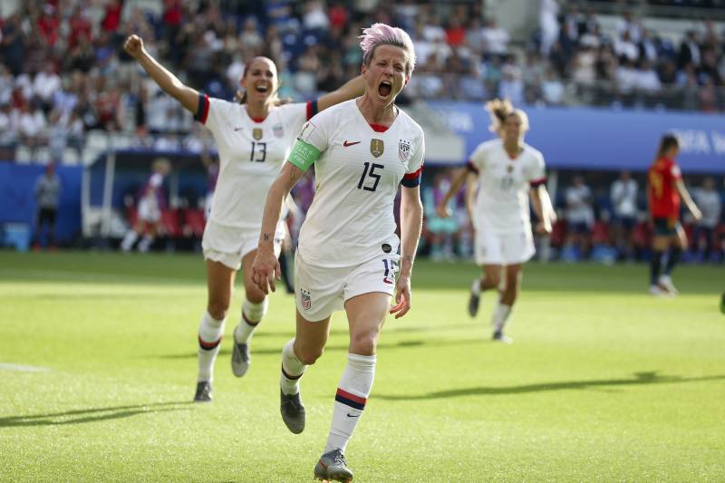 reims france june 24 megan rapinoe of usa celebrates her winning goal on