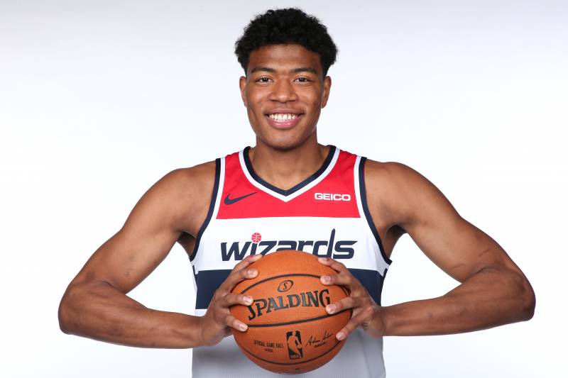 WASHINGTON, DC - JUNE 21: Washington Wizards NBA Draft Pick Rui Hachimura poses for a portrait at Capital One Arena on June 21, 2019 in Washington, DC. NOTE TO USER: User expressly acknowledges and agrees that, by downloading and or using this photograph, User is consenting to the terms and conditions of the Getty Images License Agreement. (Photo by Ned Dishman/NBAE via Getty Images)