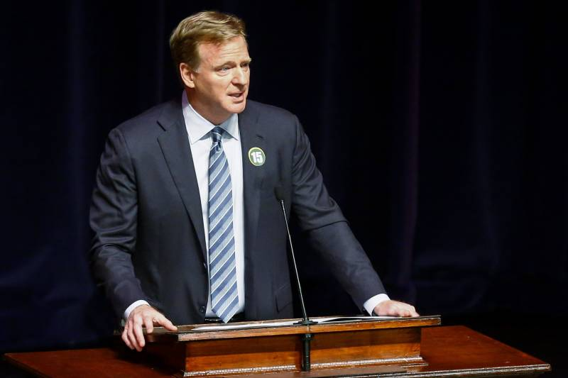 NFL Commissioner Roger Goodell speaks during a memorial service for former Alabama and Green Bay Packer quarterback, Bart Starr, Sunday, June 9, 2019, in Homewood, Ala. Starr died a week ago at age 85. He had been in failing health since suffering two strokes and a heart attack five years ago. (AP Photo/Butch Dill)