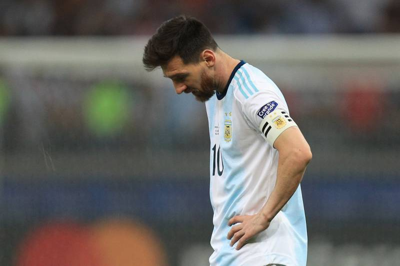 BELO HORIZONTE, BRAZIL - JULY 02: Lionel Messi of Argentina reacts after the Copa America Brazil 2019 Semi Final match between Brazil and Argentina at Mineirao Stadium on July 02, 2019 in Belo Horizonte, Brazil. (Photo by Buda Mendes/Getty Images)