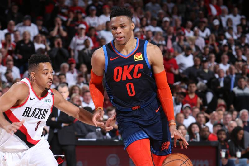73e4f96e4e572f PORTLAND, OR - APRIL 23: Russell Westbrook #0 of the Oklahoma City Thunder