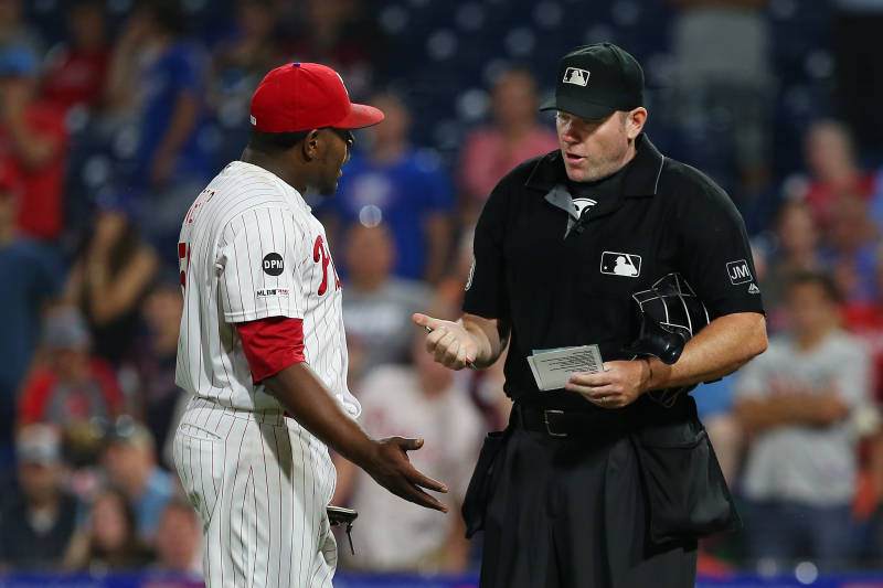Phillies' Hector Neris Suspended 3 Games for Throwing at Dodgers' David Freese