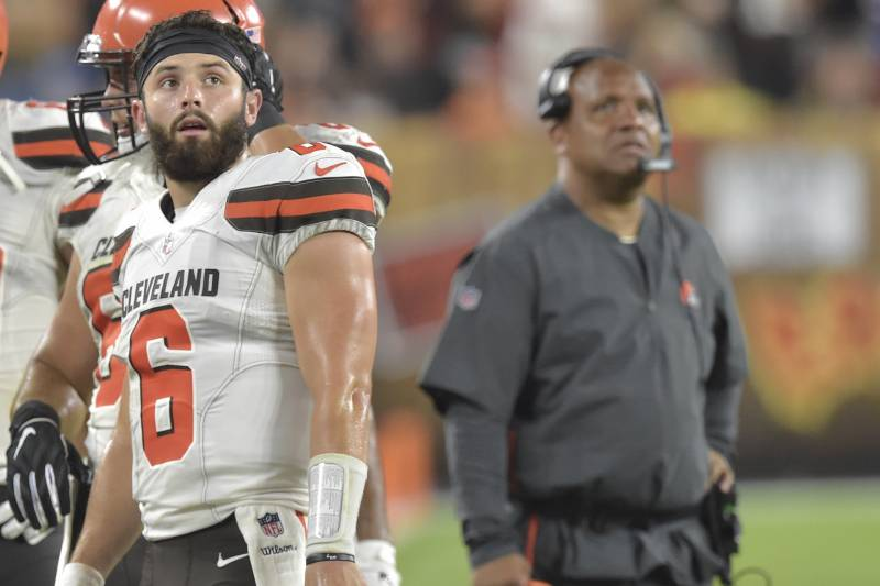 brand new 9f0ac 6ba72 Hue Jackson: Baker Mayfield's Stance on Browns Tenure 'Doesn ...
