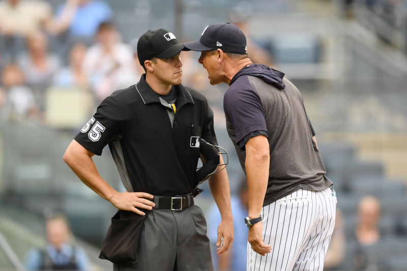 Video: Yankees' Aaron Boone Goes on NSFW Rant over Umpire's Strike Zone